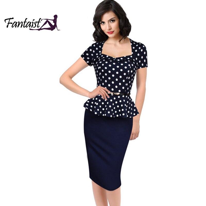 Fantaist 2016 Summer Women Vintage FakeTwo Piece Polka Dot Peplum Office Plus Size Dress Elegant Party Fitted Pencil Work Dress