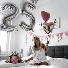 Balões de números gigantes, 2 peças, 32/40 polegadas, de número dourado e prata, 18, 24, 25, 26, para aniversário, menina, 25 anos de idade fornecimento de decorações para festas