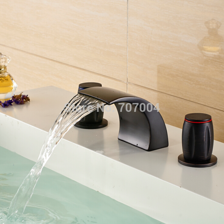 Oil Rubbed Bronze Waterfall Spout Mixer Faucet To The Bathroom Sink Deck Mounted Dual Handles