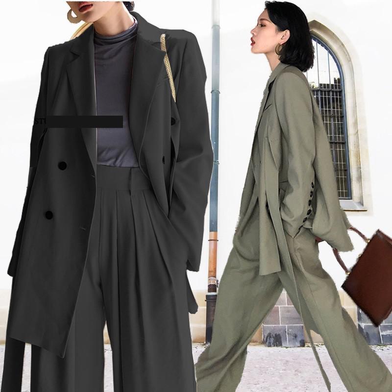 GetSpring Woman Set Blazer Suit Set Wide Leg Pants Suit Casual Woman Bandage Long Suit 2 Piece Sets 2019 New Fashion Plus Size