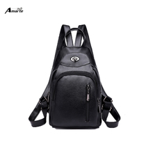 цены на Women's Backpack Korean version of the new fashion soft leather simple bag leisure travel wild black, red waterproof light  в интернет-магазинах