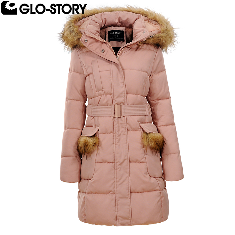 GLO-STORY 2017 Women Cotton Padded Long Coat Womens Hooded with Belt Pink Long Winter Parka Coats WMA- 4584 stylish long sleeve hooded with belt zip up women s padded coat