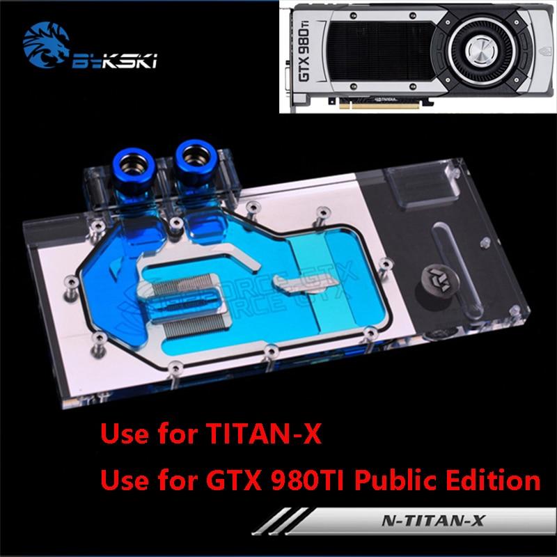 Bykski Full Cover Graphics Card Water Cooling Block use for NIVDIA GTX TITAN-X / GTX980TI Public Edition GPU Radiator RGB Cooler bykski full cover graphics card water cooling block use for xfx radeon rx rs 480 8gb gddr5 gpu radiator cooler block rgb