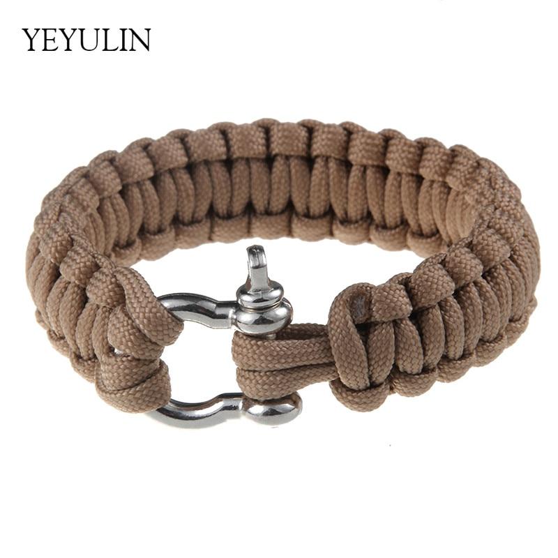 High Grade Camping Survival Bracelet Male Style Handmade Braided Parachute Horseshoe Buckle Bracelet Jewelry For Man