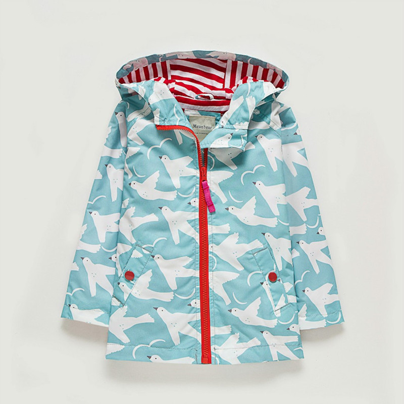 UK Original MeanBear Children Jacket Girls Colorful Girls Windbreaker Kids Cheerful Girls Spring Flower Jacket Trench Clothes-in Jackets & Coats from Mother & Kids