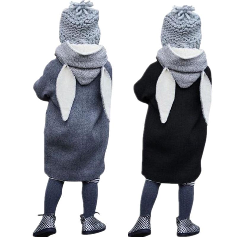 Spring Rabbit Ear Jackets For Girls Children Long Coat Bunny Outfits Enfant Outerwear Hooded Windbreaker Warm Manteau Fille