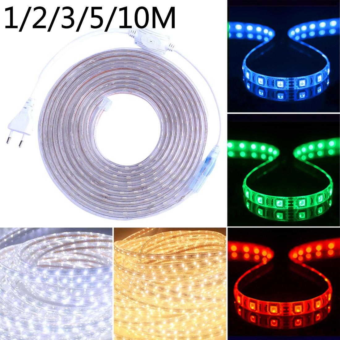 Waterproof Flexible Decoration Lamp Led Strip Lamps Flexible Light Tape Ribbon Smd 5050 With Eu Power Plug Ac220v 1/2/3/5/10m Lights & Lighting Led Strips
