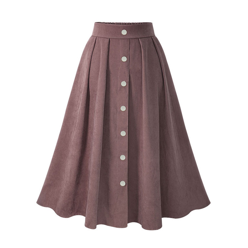 HDY Haoduoyi Pleated Skirts Button High Waist Elastic Mid Skirt Korean Style Women Skirts Fashion New 2018 Autumn Winter Bottom 13