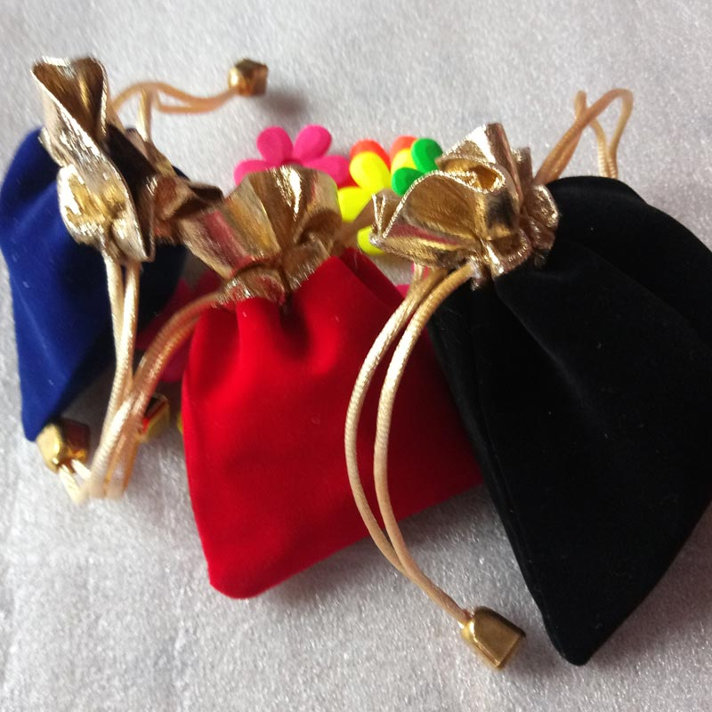 100pcs 9x12cm Gold bead jewelry bags pouch velvet bags jewellery pouches gift bag for christmas/wedding Drawstring packaging bag