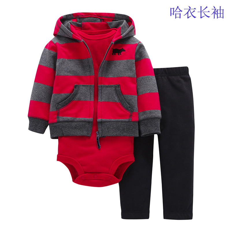 Baby Boy Girl Clothes 2017 Autumn Brand Infant Clothing T-shirt Tops+Hooded Coat+Long Pants Outfits Kids Bebes Jogging Suits baby fox print clothes set newborn baby boy girl long sleeve t shirt tops pants 2017 new hot fall bebes outfit kids clothing set