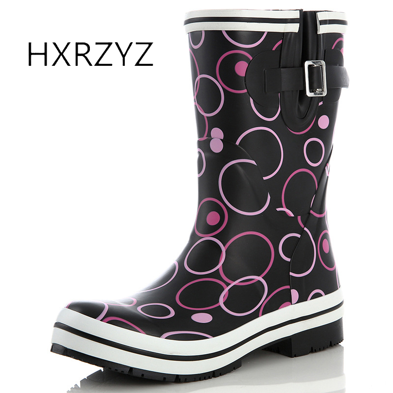HXRZYZ women rain boots ladies rubber waterproof boots spring/autumn buckle non-slip wear-resistant women red and black shoes hxrzyz women rain boots spring autumn female ankle boots ladies fashion high top blue and red non slip waterproof women shoes