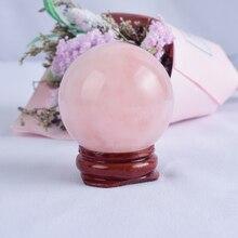 40 мм натуральный розовый кварц хрустальный шар с деревянной основой ручной массаж кварц для лечения кристаллов фэн шуй украшения дома