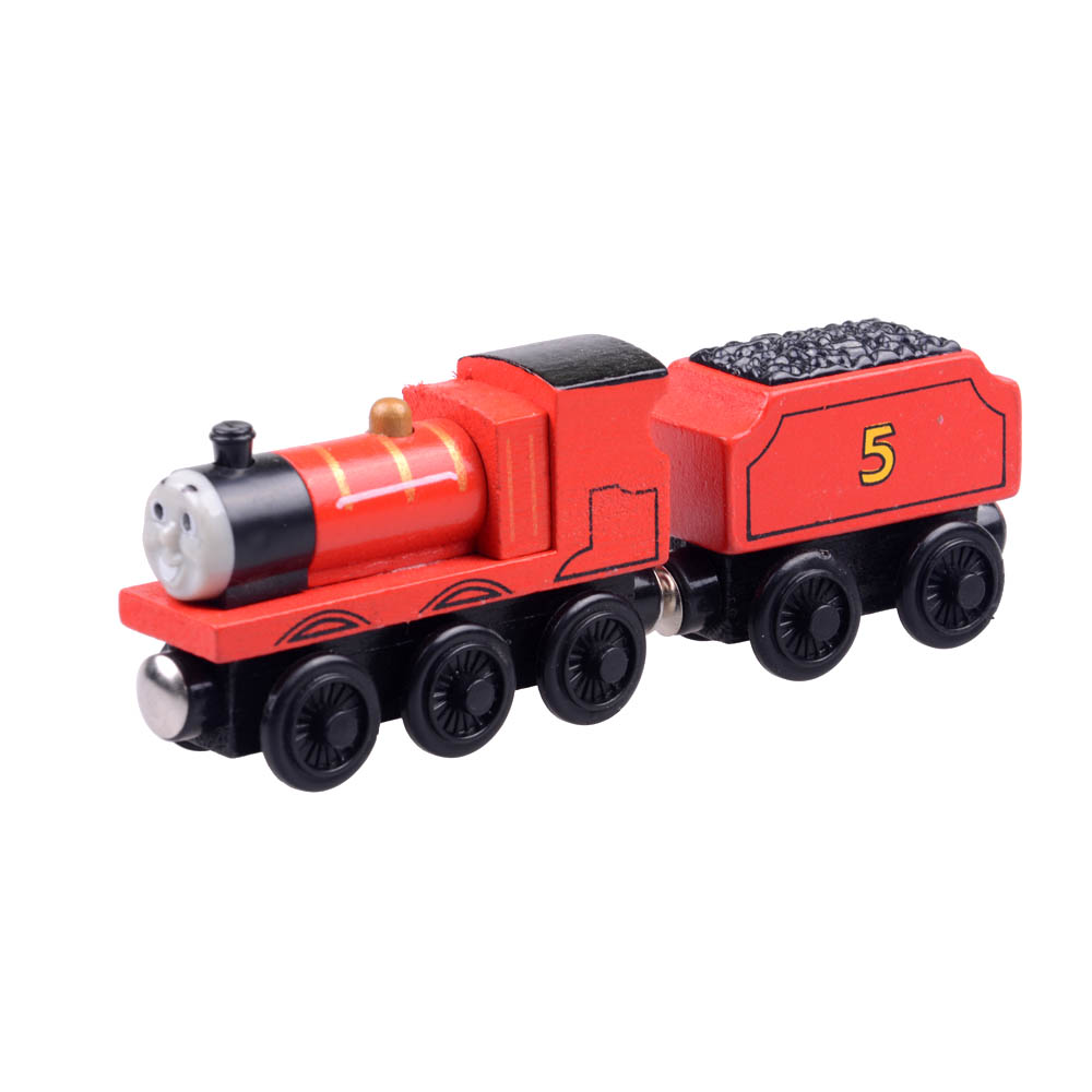 2pcs/lot Baby educational vehicle toys Wooden Magnetic Tomas Railway Train head James and his Car