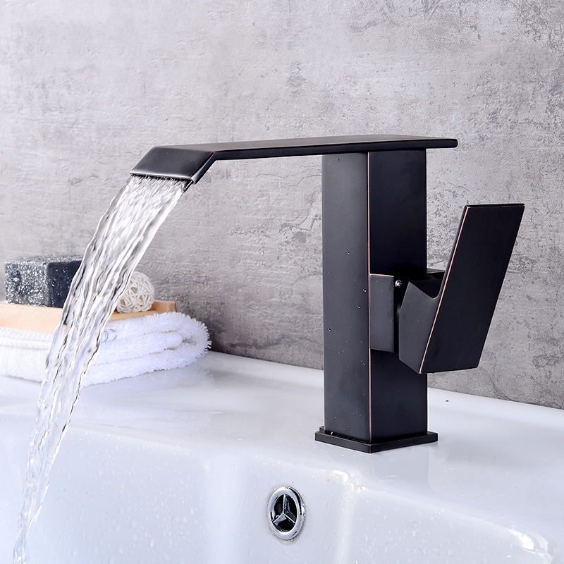 купить Basin Faucets Waterfall Bathroom Faucet Single Handle Basin Mixer Tap Black Brushed Faucet Brass Hot and Cold Sink Water Taps по цене 3604.55 рублей