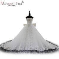 VARBOO_ELSA 2017 Sexy Fora do ombro Vestidos de Casamento Pérolas de Cristal Vestido de Casamento Da Princesa Arco laço Branco vestido de Baile Vestidos de Noiva