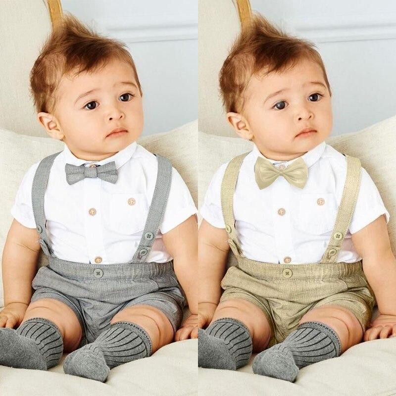 Lente Zomer Stijl Pasgeboren kinderen Baby jongens korte mouw T-shirt - Babykleding - Foto 4