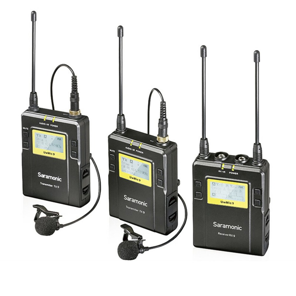 Saramonic UWMIC9 Microphone Broadcast UHF Camera Wireless Mic Lavalier System Transmitters +One Receiver for DSLR Camcorder     Saramonic UWMIC9 Microphone Broadcast UHF Camera Wireless Mic Lavalier System Transmitters +One Receiver for DSLR Camcorder