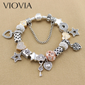 VIOVIA 2017 Silver Plated Charm Bangle & Bracelet With Star And Heart Bead For Women Wedding Valentine's Day Gift B17006