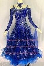 Womens Ballroom Dance Dress Royal Blue Profession Custom Made Waltz Tango Flamenco Competition Skirt Lady Dancing Dresses