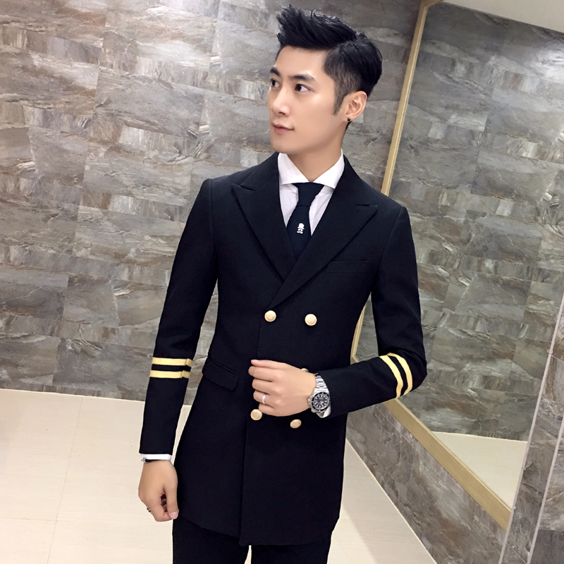 Popular Black Double Breasted Suit Jacket-Buy Cheap Black Double ...