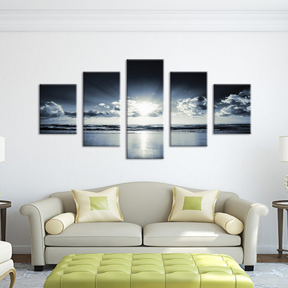 Original Oil Ink 5 Panels Canvas Print Black and White Sea Painting ...