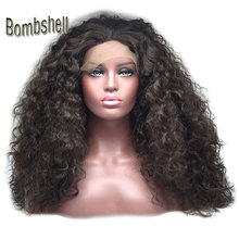 Bombshell long dark brown loose curly synthetic lace front wig glueless natural hairline middle parting for black white women