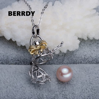 925 Sterling Silver Pearl Pendant Settings CAGE Findings Pendant Mountings Women Accessories Female Lady Girls' Jewwelry