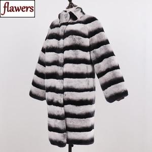 2019 New Women Real Genuine Rex Rabbit Fur Jacket Long Style 90cm Thick Warm Winter Lady Rex Rabbit Coat Real Natural Fur Coats