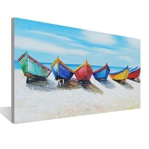 Пять парусных лодок морской пейзаж Ресторан Жилая картина для украшения помещений настенное Искусство Ручная роспись маслом