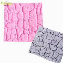 Delidge 1 pc Dry Wall Cake Mold Silicone Non-Stick Castle Stone Bark Cake Fondant Molds DIY Cupcake Chocolate Decoration Mould