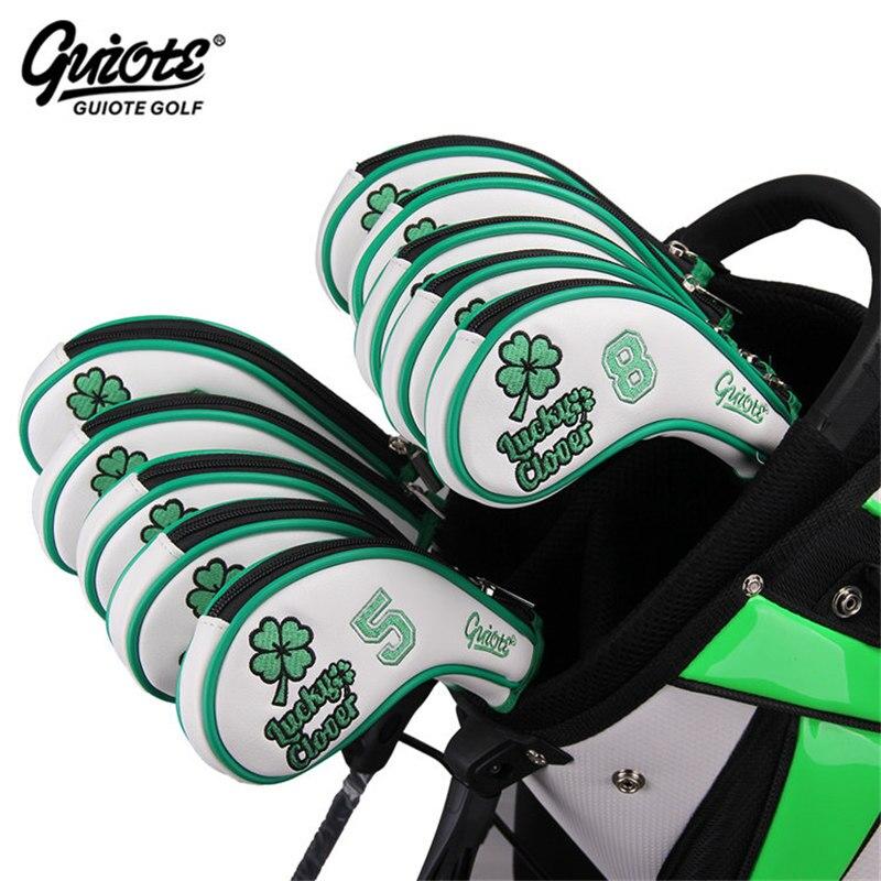 [2 Colors] Lucky Clover Golf Irons Headcovers Zipper Golf Iron Cover Set #3-9PAS Embroidery Design Zipper Series For Men Women
