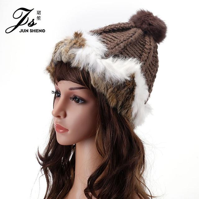 Winter Hats For Women Rabbit Hair Hat Bonnet Femme Ski Mask Fur Pompom Mink Fur Hats Beanie Women