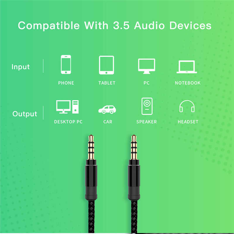 Robotsky Jack 3,5 мм аудио кабель нейлоновая оплетка 3,5 мм Автомобильный Кабель для входа внешнего сигнала 1,5 м удлинитель для наушников для телефона MP3 Автомобильная гарнитура динамик