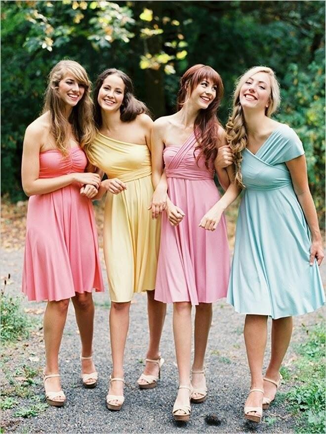Cheap Convertible Bridesmaid Dresses Short Fashionable Different ...