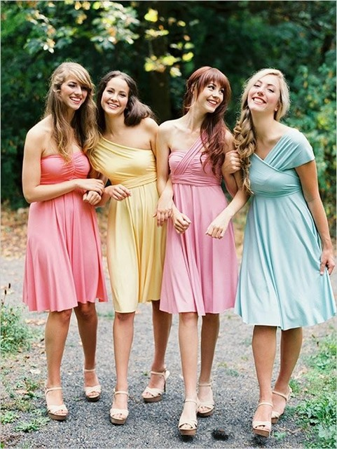 Cheap Convertible Bridesmaid Dresses Short Fashionable Different Style Knee  length Juniors Wedding Party Dress maid of b02c993ce35c