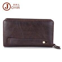 JOYIR Hot Sale Luxury Double Zipper Men Clutch Wallet,Long Genuine Leather Male Baellerry Wallet Wristlet Coin Purse Portemonnee