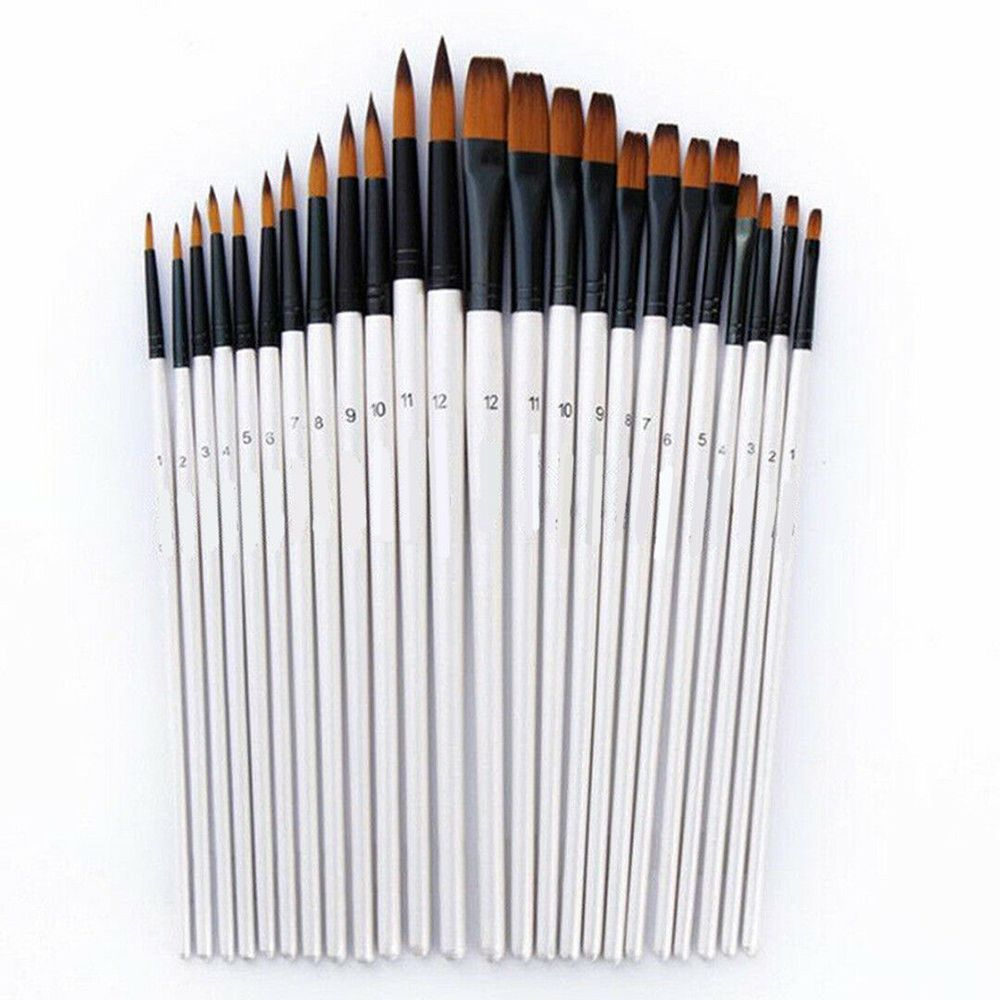 12Pcs/Set Tip / Flat Artist Paint Brushes Set Acrylic Oil Watercolor Painting Craft Art Supplies Model Kit