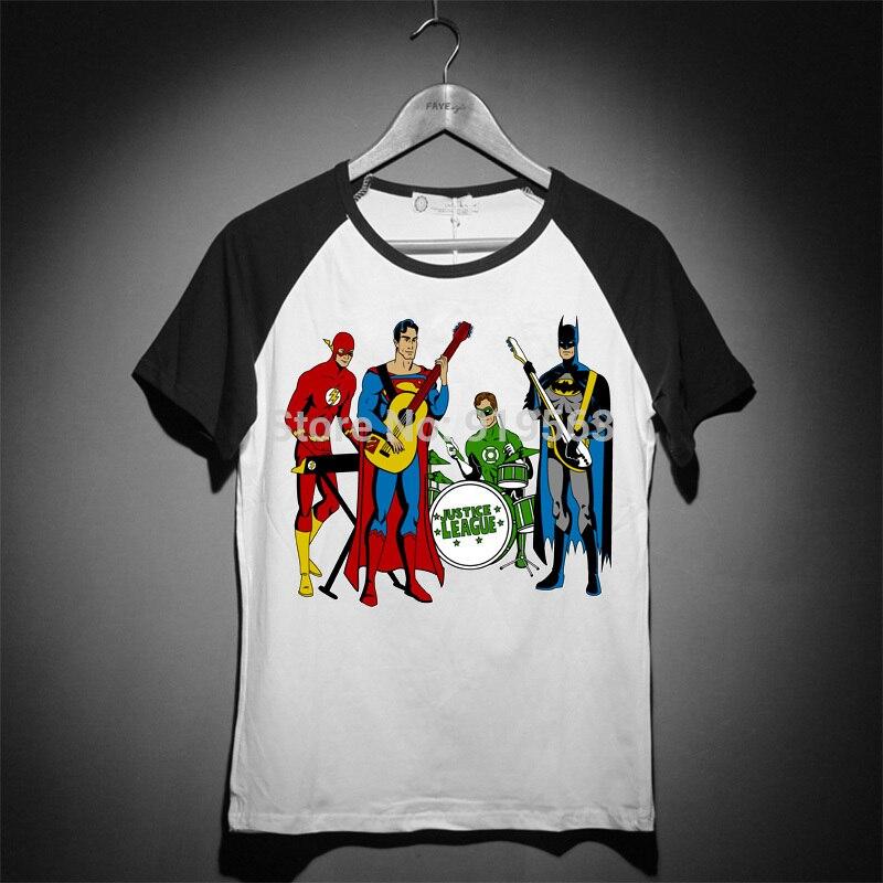 superman batman justice rock band raglan sleeves baseball vintage tee shirt comic hero
