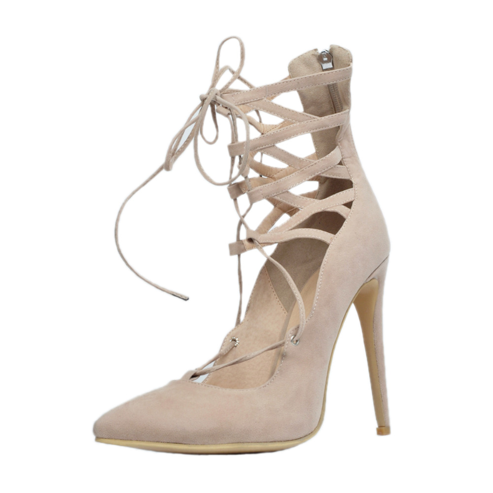 ФОТО Women Shoes Summer Fashion Pumps Pointed Toe High Heels Beige Pumps with Lace-Up EU34-43 Large Size Shoes Women