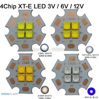 10x Cree XT E XTE 3V 6V 12V 4Chips High Power LED Emitter Cool White 6500K Warm White 3000K Neutral White 4500K Royal Blue 450nm
