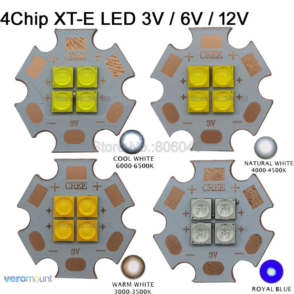 10x Cree XT-E XTE 3 V 6 V 12 V 4 puces haute puissance LED émetteur blanc froid 6500 K blanc chaud 3000 K blanc neutre 4500 K bleu Royal 450nm
