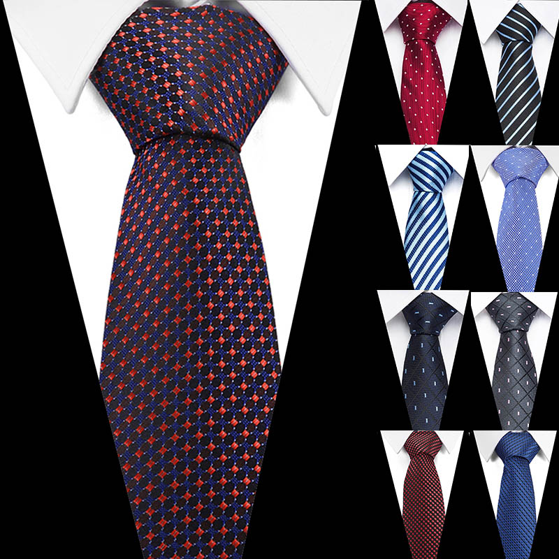 Newest Fashion Brown Tie Checked & Dot & Plaid Ties 7.5cm Tie For Men Suit Business Wedding Party Neckties Blue Tie