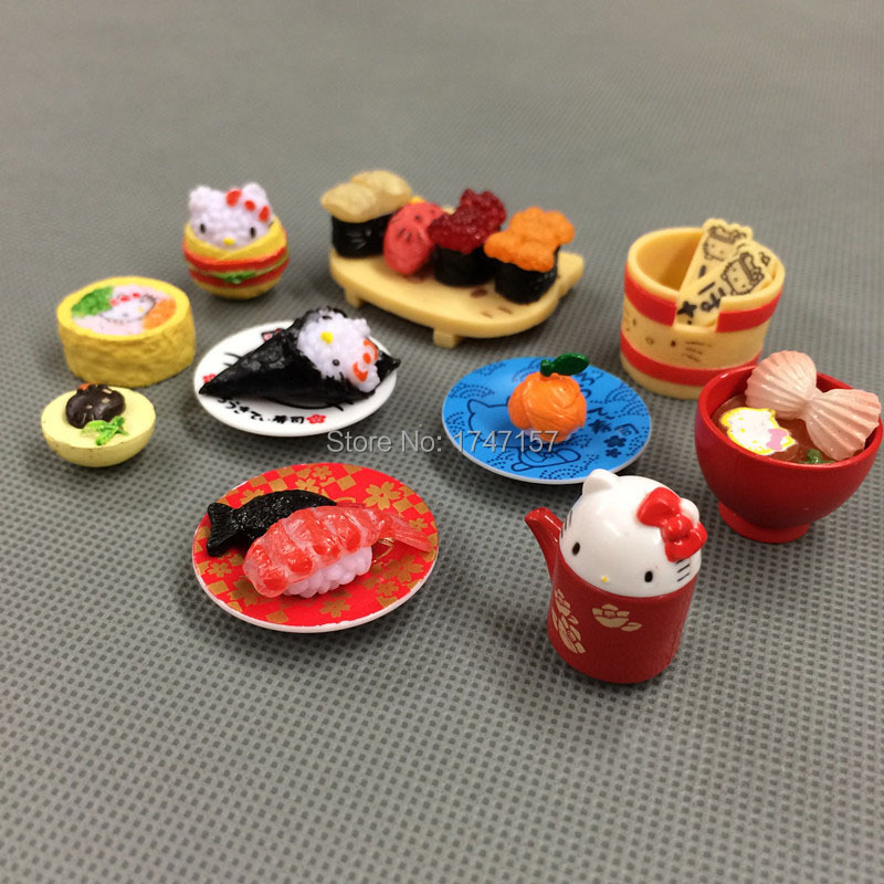 Hello Kitty Kitchen Accessories: 1 Set Kawaii Japanese Dollhouse Miniature Food Hello Kitty