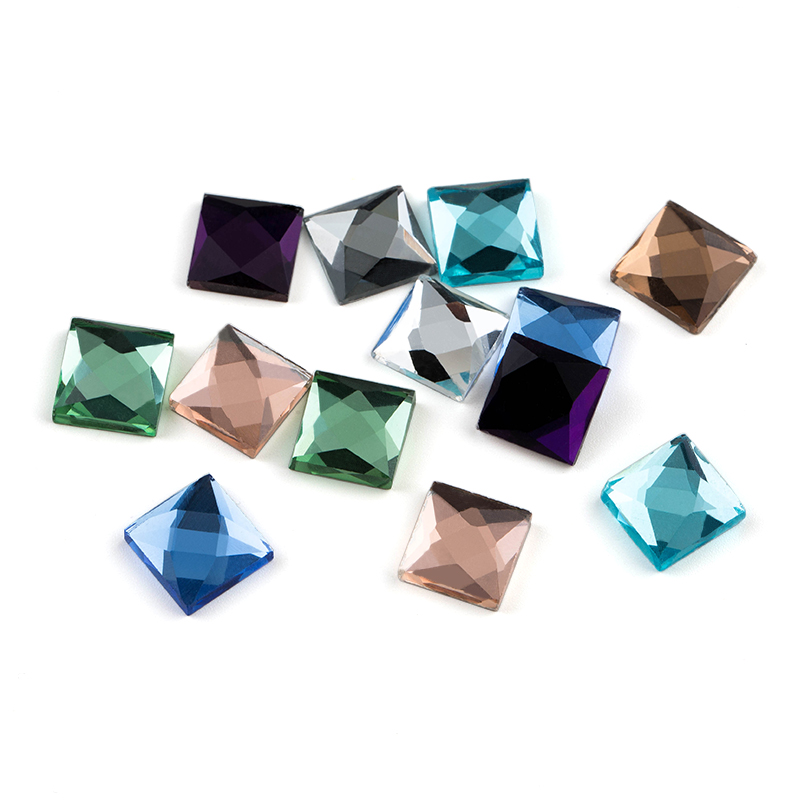 Mixed Colors Glass DIY  Rhinestone 6mm 8mm 10mm 100pcs/lot Square Shape Flat Back Paste Glue On Garment Accessories