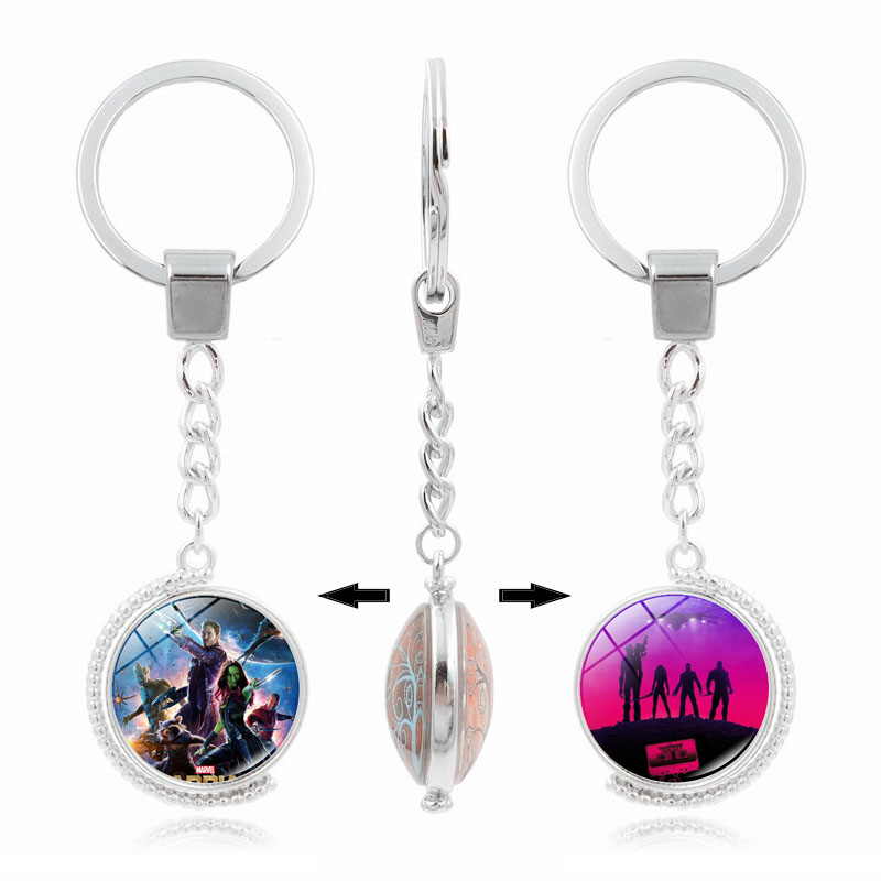 Guardians of The Galaxy Glass Dome Pendant Keychain Movie Jewelry Accessories Double Side Rotatable Silver Metal Key Chain Ring