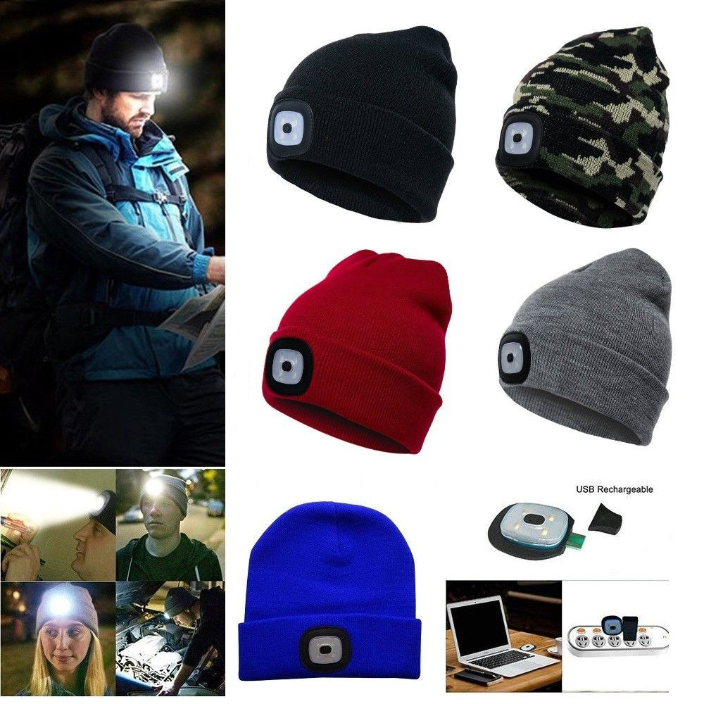 Unisex USB Rechargeable LED Beanie Hat For Camping Fishing Battery Lights