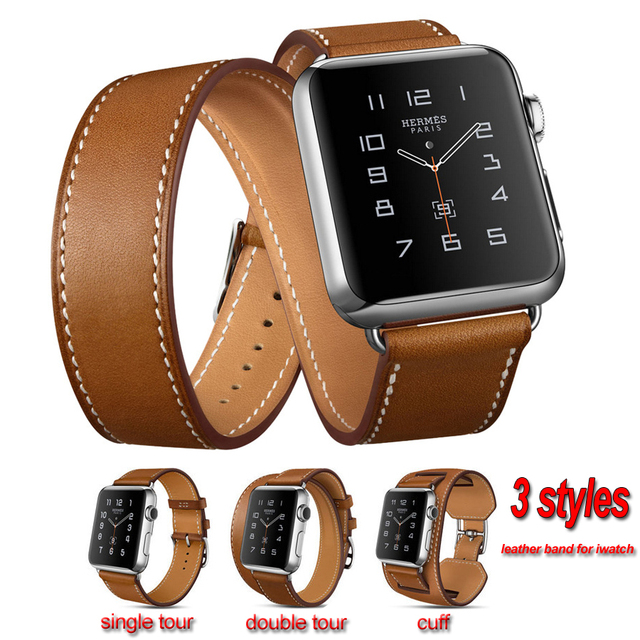 1ea8379ddaa5d6 NOTO Foure Colors Leather Watchband for Smart Watch Three Styles Leather  Strap for Apple Watch AWHMLB