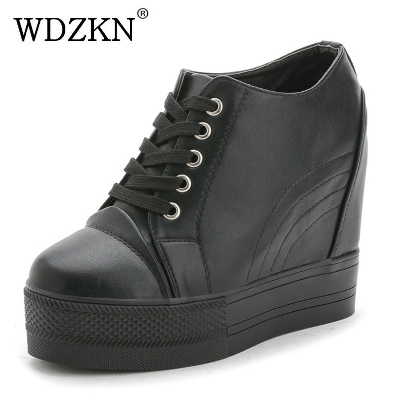WDZKN 2018 Platform Wedge Casual Shoes Women High Heels Black White Height Increasing Women Shoes Female Chaussure Size 35-40 wdzkn 2017 platform high heels wedge women shoes chaussure femme black white hidden heels elevator shoes winter casual shoes