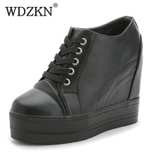 WDZKN Platform Wedge Casual Shoes Women High Heels Black White Height Increasing Women Shoes Female Chaussure Size 35-40