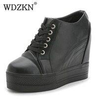 Wdzkn 2018 plataforma wedge casual Zapatos mujeres Tacones altos negro blanco aumento de la altura mujeres Zapatos mujer chaussure tamaño 35-40